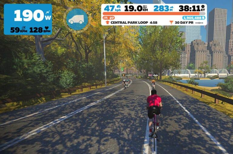 Du kan køre rundt i en virtuel udgave af Central park, New York med Zwift.